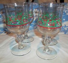 "Arby's Holly and Berry 7"" Tall Goblets, Bow Tie Stem"