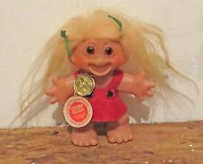 Vintage Original Dam Thing Lykketrold Troll 6 Inch With Red Dress Original Tags