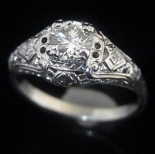 c.1920s Art Deco Old Cut Diamond 14k White Gold Ring Engagement Vintage Antique