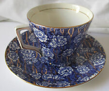 LORD NELSON WARE 2524 BLUE & WHITE FLORAL CHINTZ CUP & SAUCER SET W/GOLD