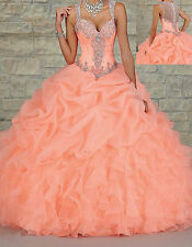 2015 HOT New  Beaded Long Prom Ball Gown Quinceanera Wedding Dresses Custom Size