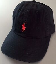 POLO Ralph Lauren Authentic Sport Classic Pony Cap Men's Hat Black Polo Red New