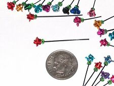 2pc Miniature dollhouse tiny 3d little Metal Roses for crafting flower bottles *