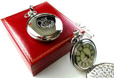 Merchant Navy Silver Plated Pocket Watch LUXURY Gift Case Crested With Chain