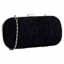 Ivory Red Black Blue Fuchsia Lace Clutch Bag Box Style Ladies Evening Handbag