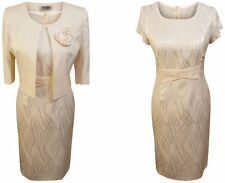 CREAM MOTHER OF THE BRIDE FORMAL OUTFIT 2 PIECE JACKET DRESS SIZE 14 WEDDING
