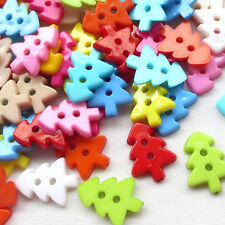 New 50pcs Santa Tree Plastic Buttons 2 Holes Sewing Craft 17mm