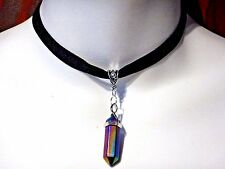 BLACK VELVET TITANIUM RAINBOW CRYSTAL NECKLACE silver quartz hex necklace Q5