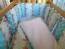 Cushi cots swing crib bumper twin pack/full wrap and duvet pink rose and dots