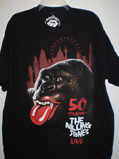 ROLLING STONES Concert Tour Short Sleeve T Shirt (XL) BLACK 50 & Counting LONDON