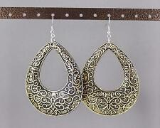 Gold Black teardrop earrings big huge giant lightweight dangle scroll oval