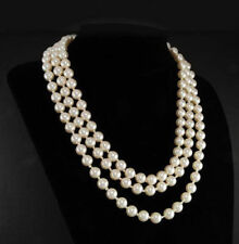 Jacqueline Kennedy First Lady Triple Strand real White Pearl Necklace 17-19""