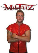 MISFITZ RED RUBBER LATEX  ZIP T SHIRT, SIZES S,M,L,XL,XXL,XXXL, HEAVY QUALITY