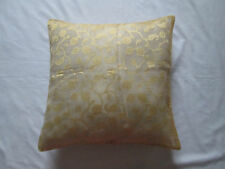 """NEW - Floral Leaf Net Sheer Button Indian Cushion Cover Gold 18"""""""