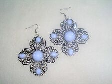 Big Bold Flower White Stones Dangle Exotic Pair of Earrings Jewelry Fashion