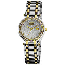 Women's Burgi BUR078TT Two-tone Stainless Steel Pave Pattern Diamond Dial Watch