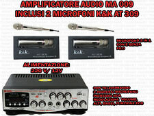 AMPLIFICATORE AUDIO HIFI USB 12V 220V SD MP3 FM CON 2 MICROFONI FUNZIONE 2 IN1
