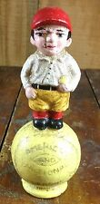 YOUNG BOY STANDING ON BASEBALL AMERICAN NATIONAL LEAGUE CAST IRON COIN BANK