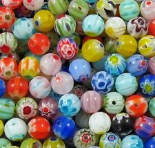 100 x 6mm Assorted Mixed Millefiori Round Beads - B0010