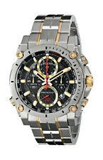 NEW BULOVA PRECISIONIST TWO TONE BRACELET CHRONO BLACK DIAL RED ACCENT 98B228