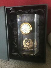 Rare Japanese Glass Police Clock In Presentation Box,Police Crest In Gold Colour
