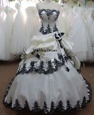 Vintage white black Gothic Formal Evening ball Dress wedding dress bridal gown
