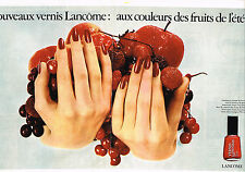 PUBLICITE ADVERTISING 084  1976  LANCOME vernis aux couleurs des fruits d'été(2p