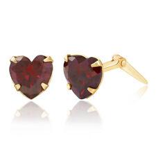 9ct yellow gold 5mm garnet heart cubic zirconia Andralok stud earrings. Giftbox