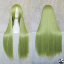 "31""LONG LIGHT YELLOW GREEN STRAIGHT UNIVERSAL COS PARTY WIG + gift"