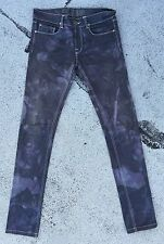 APRIL 77 JOEY Thunder JEANS 27 X 32 Slim Skinny Purple Black Tie Dye Stretch