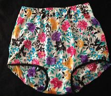 """VINTAGE STYLE CUSTOM """"WILD ABOUT YOU FLORAL"""" VF  NYLON FULL BRIEF  PANTIES SZ 7"""