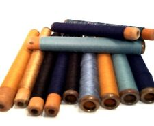 Threaded Textile Bobbins Spools Spindles Quills Vintage Blue Wooden lot-12