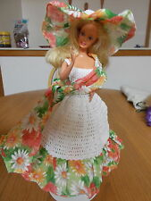 CROCHET FASHION DOLL BARBIE OUTFIT-FUN IN THE SOUTH #1-DOLL INCLUDED