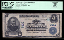 $5 1902 PB The First National Bank of Parsons, West Virginia CH# 9610 PCGS 25A