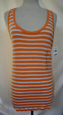 GAP The Modern Tank Top Slim Fit Stripes Tangerine & White Pima Cotton & Modal L