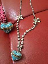 Betsey Johnson Heart Necklace Ring Set
