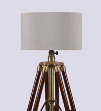 STUNNING  WOODEN VINTAGE SEARCHLIGHT~ SPOTLIGHT  TRIPOD FLOOR LAMP LIGHT DECOR
