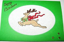 """Christmas Card Completed Cross Stitch Reindeer 6x4"""""""