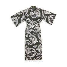 Dragon Japanese Long Yukata Cotton Kimono Robe Black & White Unisex