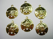 Gold Plated Sand Dollar Charms Drops Earring Findings - 6