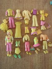 "Polly Pocket Doll Lot ""Colors of the Rainbow"" Yellow Outfits Clothes Pet  H45"