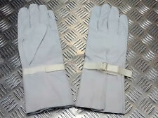 Genuine British Military Light Grey Leather Ceremonial Gauntlet  Gloves L - NEW