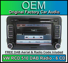 VW Golf MK6 DAB car stereo, RCD 510 DAB radio 6 CD changer, touchscreen SD card