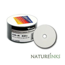 50 Traxdata Full Face Printable White CD-R 52x Discs 700MB Ritek Blank CDR discs