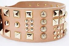 MATTHEW WILLIAMSON Womens Taupe Nude Studs Leather Wide Waist Belt XS