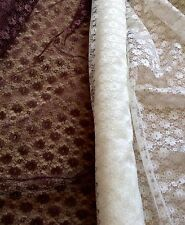 "Fab Brown Poly Lace Fabric - Daisies - 112cm or 44"" Wide - Per Metre"