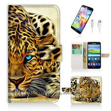 Samsung Galaxy S5 Print Flip Wallet Case Cover! Blue Eye Leopard P0354
