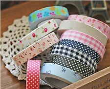 Set di 3pz Washi Tape NASTRO DECORATIVO ADESIVO TESSUTTO Scrapbooking fai da te