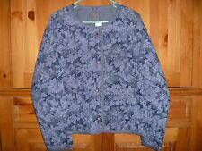 Women's GAP Quilted Jacket, Blue, Floral, Size Medium/Tall