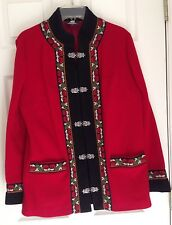FJORD FASHION (by A.S. Evebofoss, Norway) RED WOOL JACKET, SIZE EU 44 = US 14